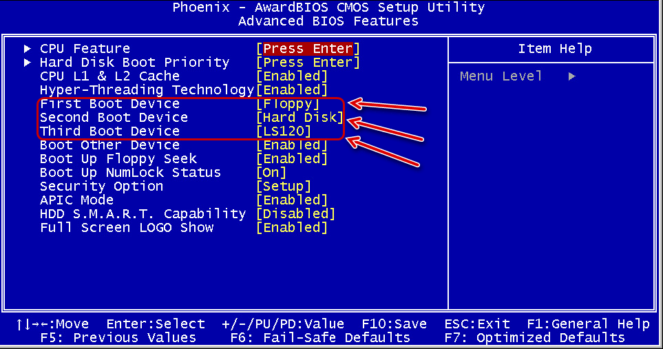 Меню Advanced BIOS Features