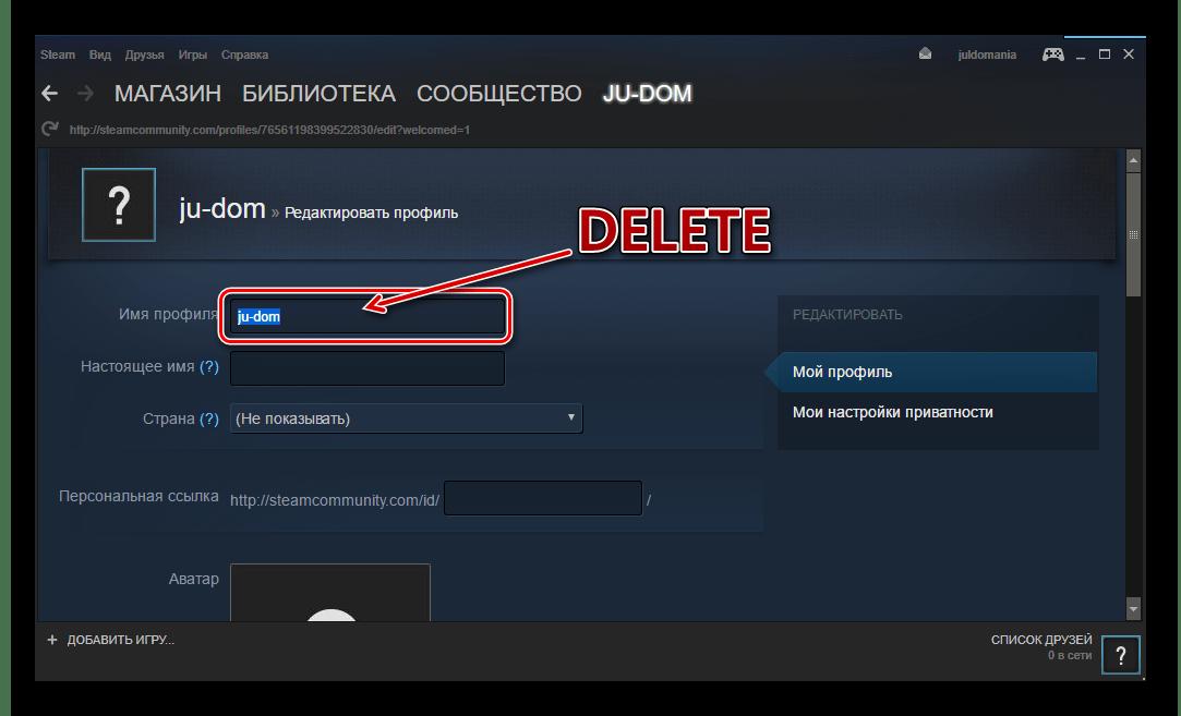 Steam выделить имя