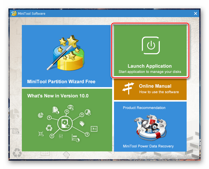 выбрать-launch-application-в-minitool-partition-wizard-free