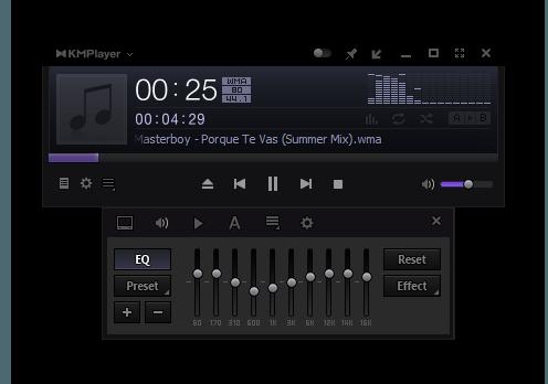 Воспроизведение аудио файлов в KMPlayer