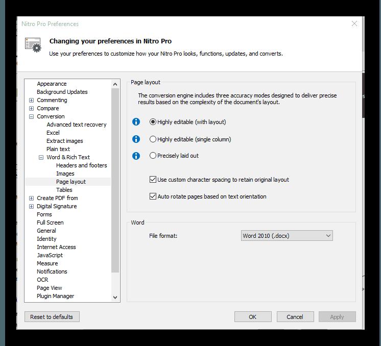 Окно «Options» в Nitro Pro