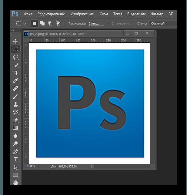 Увеличенный размер снимка в Adobe Photoshop