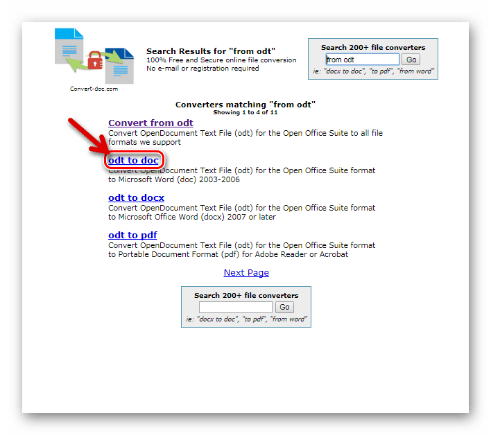 Кнопка конвертирования в формат DOC на Convert-doc