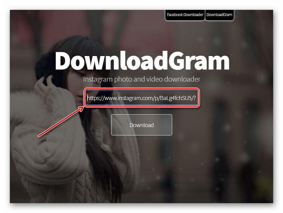 Вставка ссылки на DownloadGram