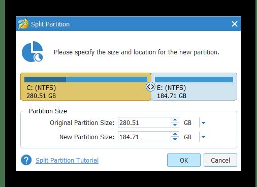 Настройка размеров томов в MiniTool Partition Wizard