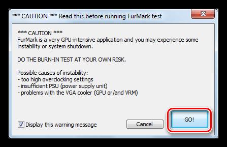 Окно предупреждения после запуска стресс теста графического процессора в Furmark