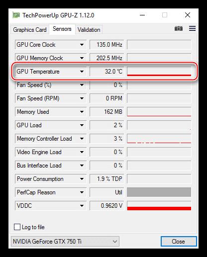 Вкладка с показаниями датчиков видеокарты в утилите GPU-Z