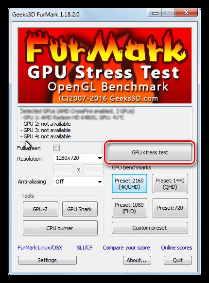 Запуск стресс теста графического процессора в программе Furmark