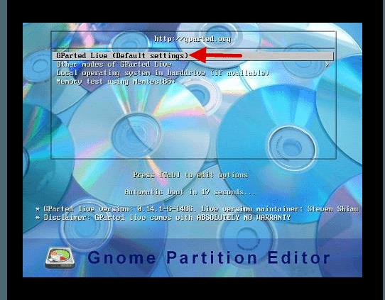 Использование GParted