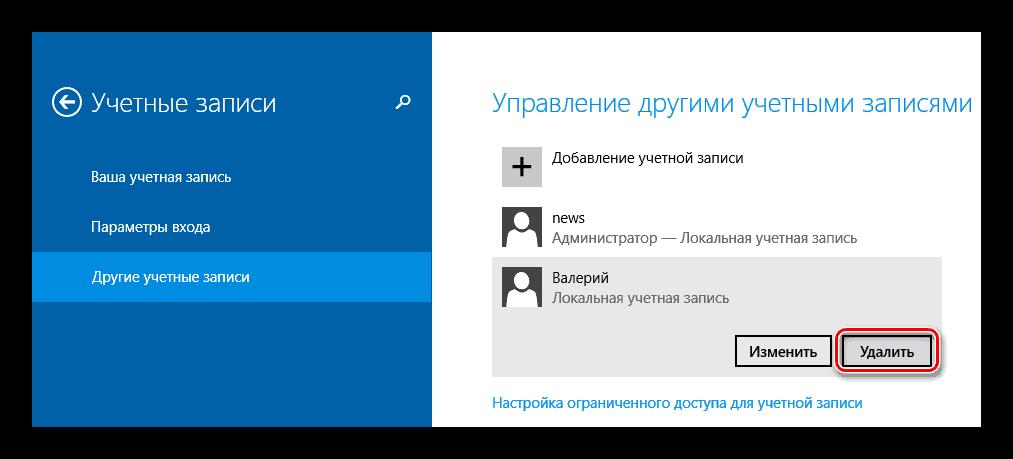 Windows 8 удаление пользователя