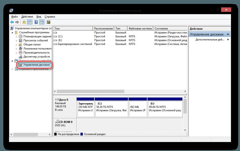 Windows 8 управление компьютером управление дисками