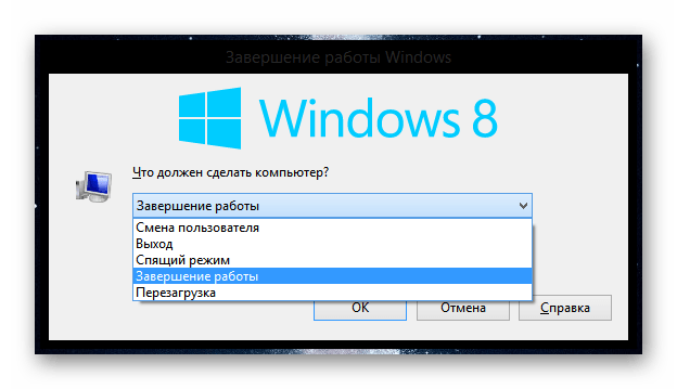 Windows 8 завершение работы Windows