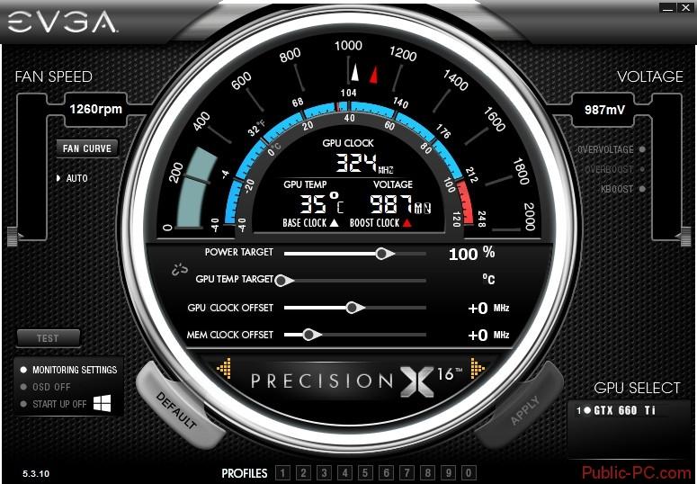 Главное окно EVGA-Precision-X