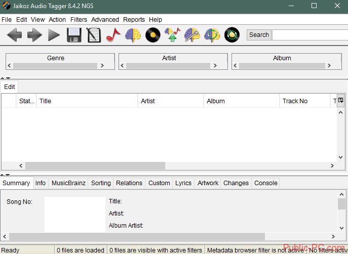 Интерфейс программы Jaikoz