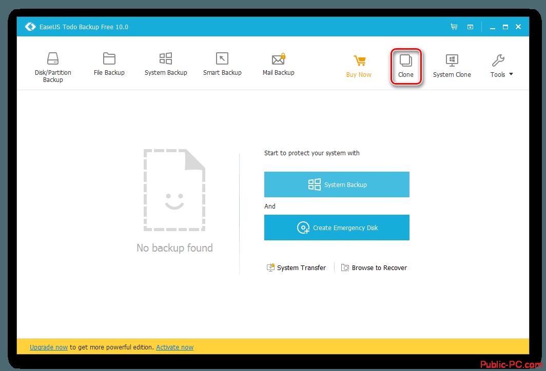Кнопка клонирования в EaseUS-Todo-Backup