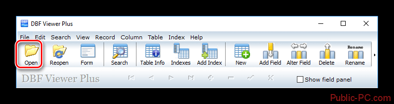Открыть файл DBF-Viewer-Plus