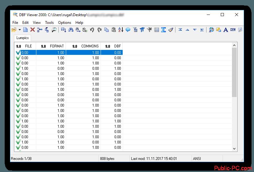 Результат манипуляций DBF-Viewer-2000
