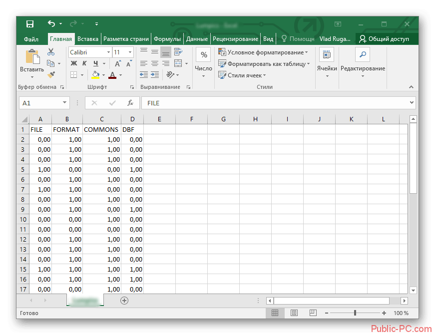 Результат проделанных действий Microsoft-Excel