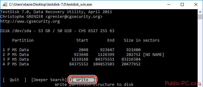 Запись структуры диска в TestDisk