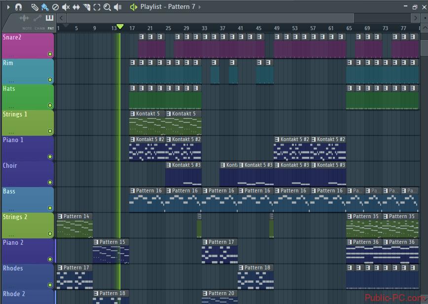 Работа с плейлистом в FL-Studio