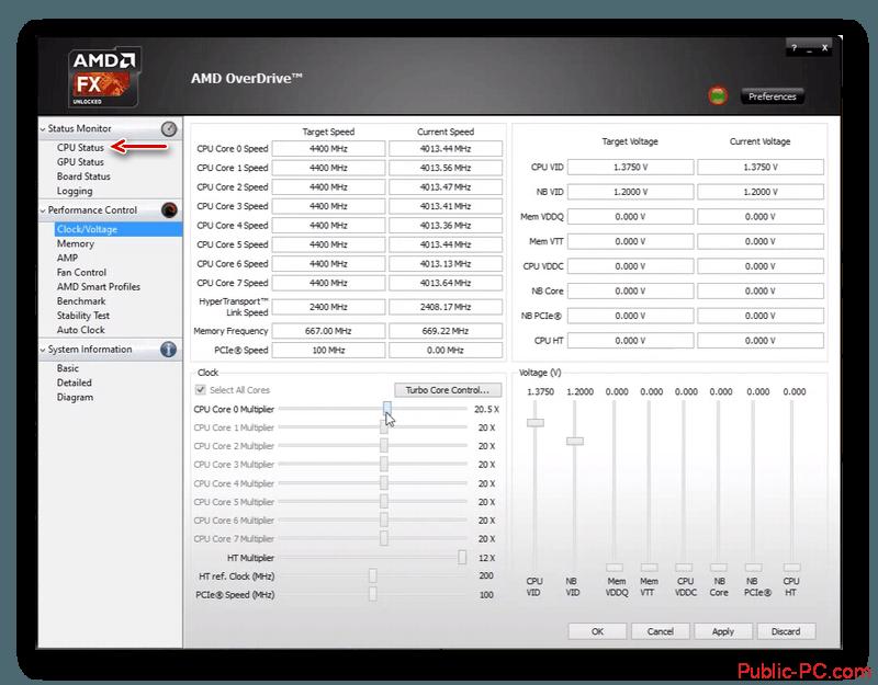 Статус CPU в AMD-OverDrive