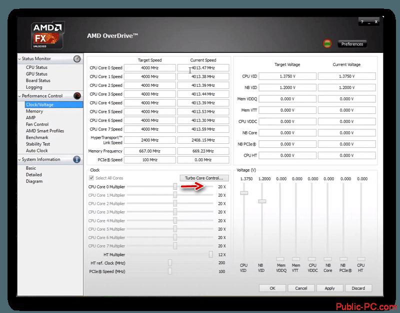 Вкладка с разгоном в AMD-OverDrive