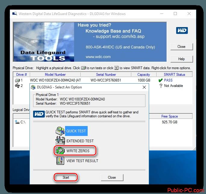 Windows-Data-Lifeguard-Diagnostics запуск форматирования