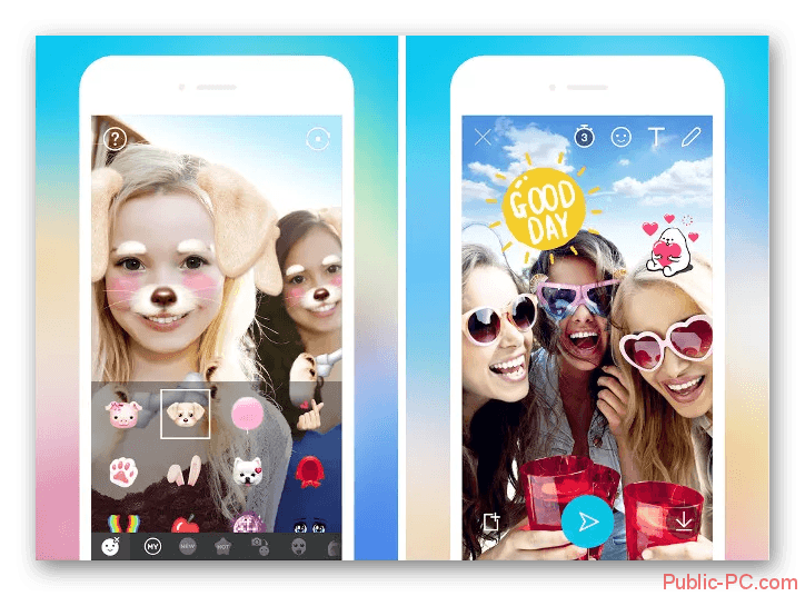 Интерфейс камеры в Snapchat