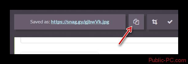 Копируем ссылку на готовый скриншот в сервисе Snaggy