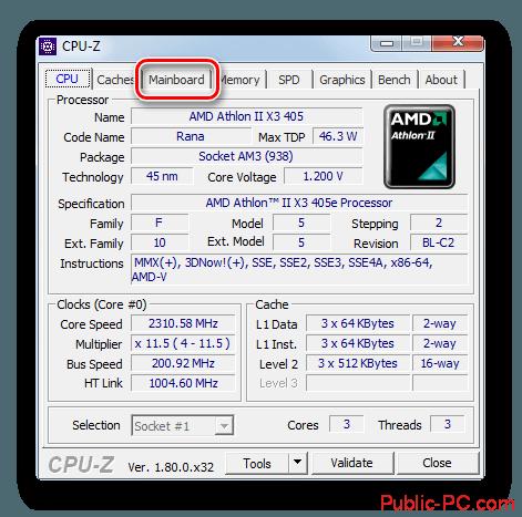 Переход во вкладку Mainboard в программе CPU-Z в Windows-7