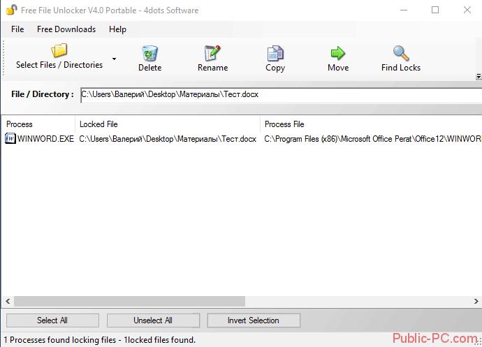 Интерфейс программы Free-File-Unlocker