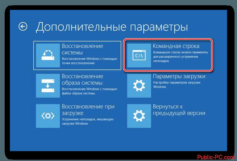 Командная строка в дополнительных параметрах Windows-10