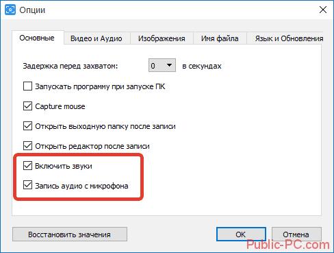 Запись аудио в Free-Screen-Video-Recorder