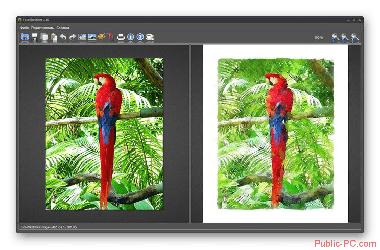 FotoSketcher интерфейс программы