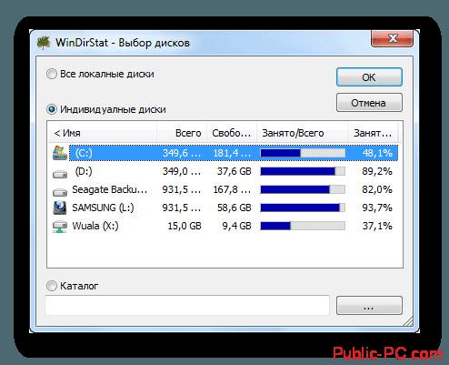 Отображение информации о диске в WinDirStat