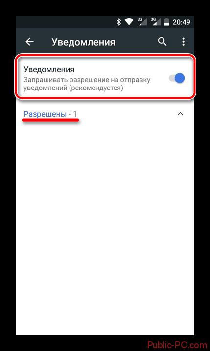Разрешённые уведомления в мобильном Google-Chrome