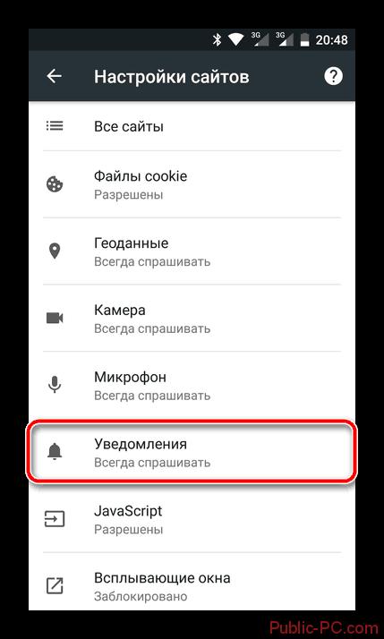 Уведомления в мобильном Google-Chrome