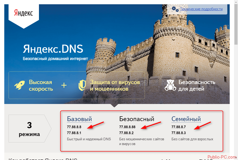 Выбор варианта DNS-адреса на Яндекс-DNS