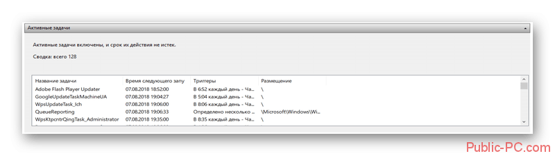 Активные задачи в Планировщике задач в Windows-10