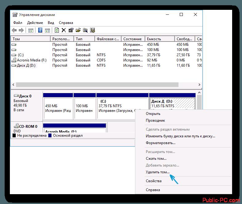 Интерфейс управления дисками в Windows