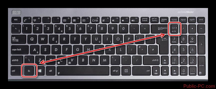 Использование сочетания клавиш FnNumLock