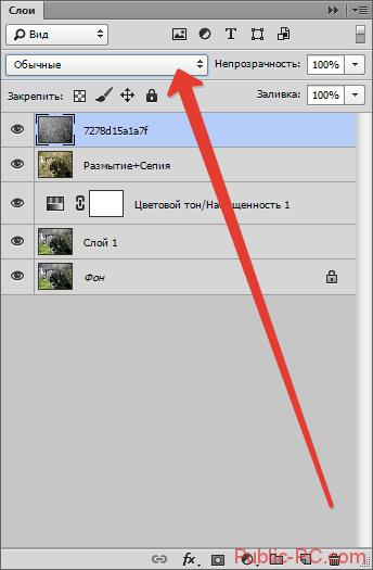 Переход к выбору вариантов наложения в Photoshop