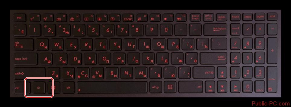 Использование кнопки Fn на клавиатуре ноутбука ASUS