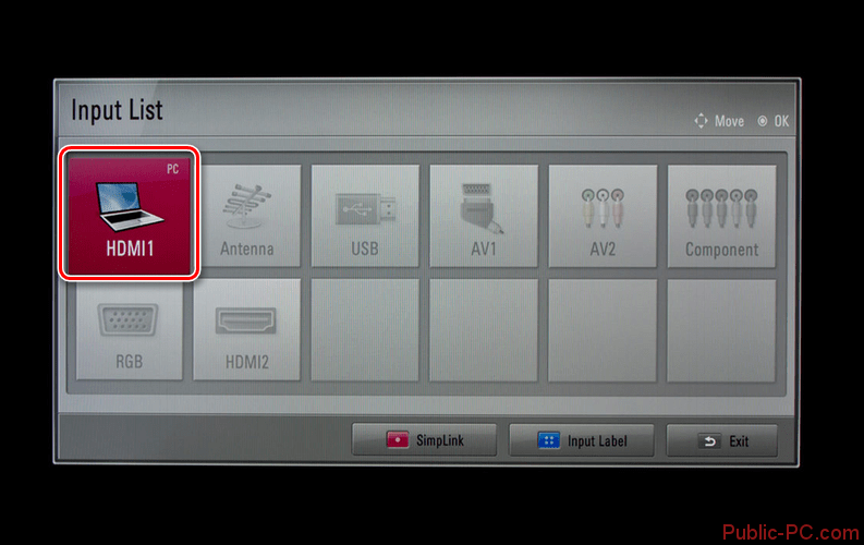 Использование меню Input на телевизоре