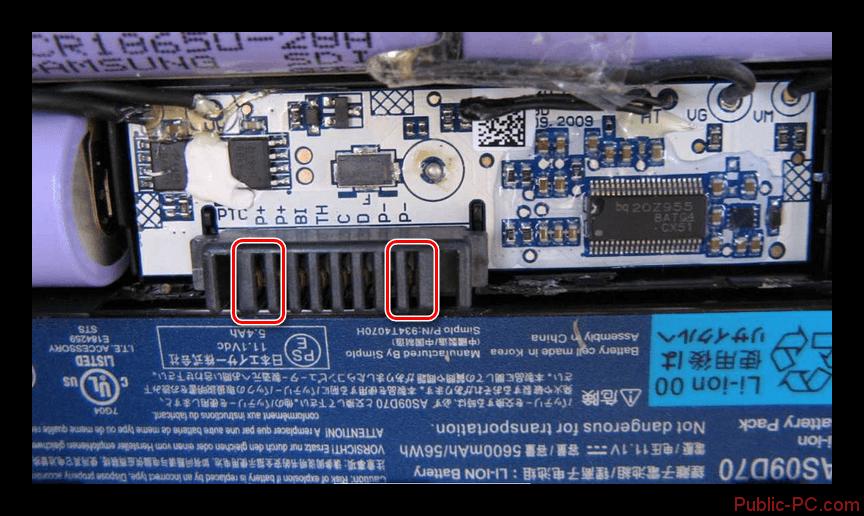 Использование разъёма на контроллере от батареи ноутбука