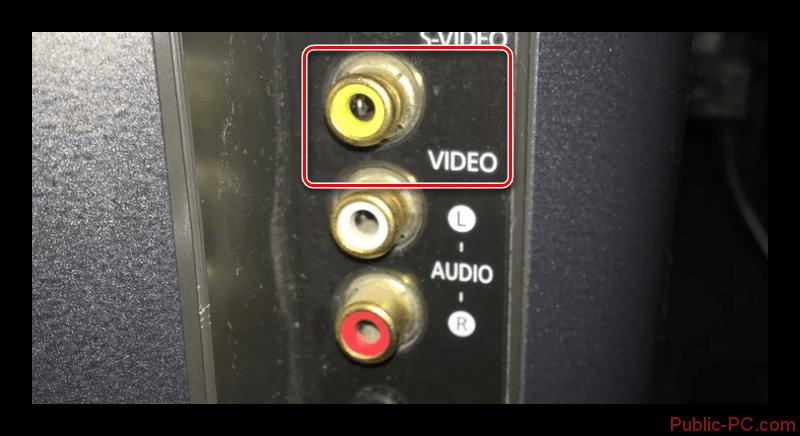 Подключение видеокабеля RCA к телевизору