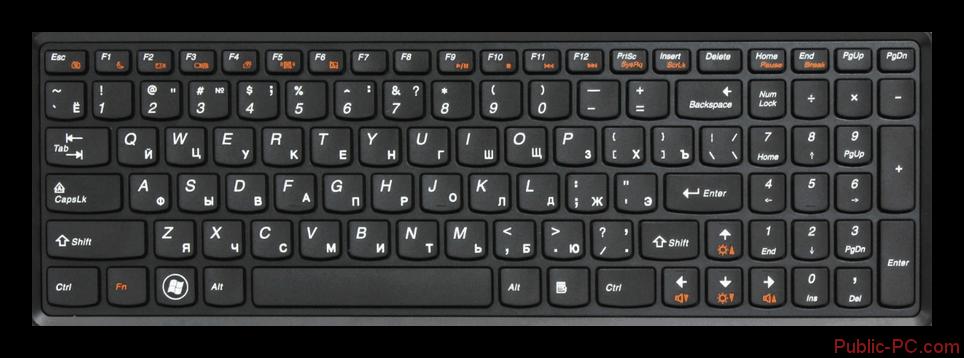Пример клавиатуры ноутбука Lenovo без подсветки