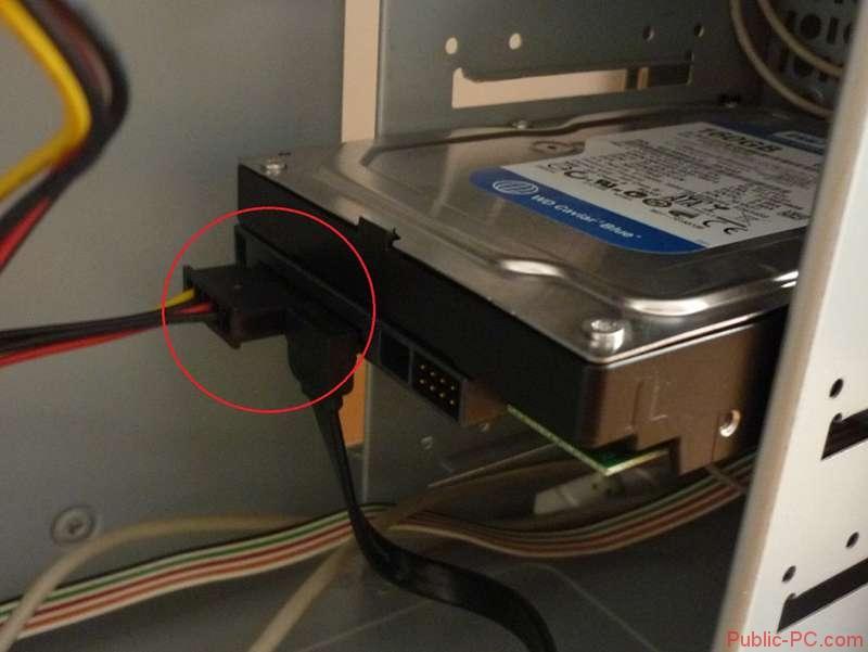 Проверка шлейфов жёсткого диска
