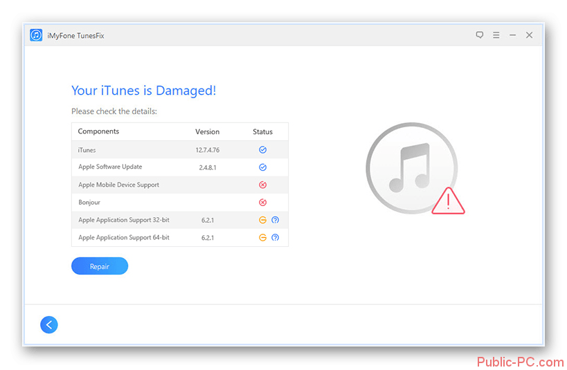 Обнаруженные проблемы с iTunes-v-TunesFix