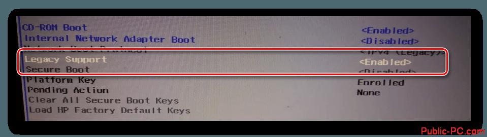 Izmenenie-znacheniya-Legacy-Support-v-BIOS